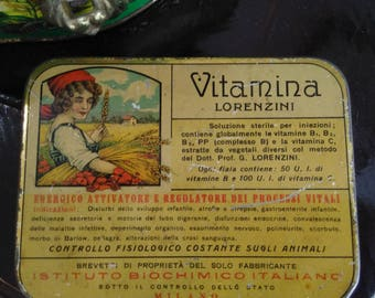 Vintage tin box, pharmacy, VITAMIN LORENZINI