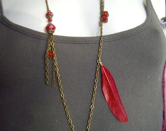 Necklace bronze and Red