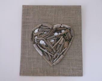 Painting on burlap Driftwood heart