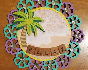 Wooden Wall Decor Relax Sign Palm Tree Beach Scene