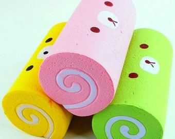 Squishy Slow Rising Roll (Yellow, Pink, or Green) bonus with 2 oz White Handmade Slime purchase