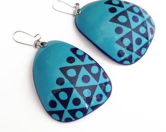 Blue geometric earrings