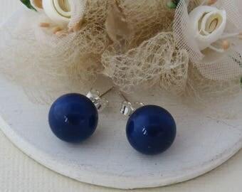 Cobalt Blue Pearl Stud Earrings, Blue Pearl Earrings, Bridesmaid Earrings, Bridal Earrings, Blue Weddings