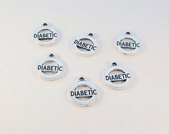 Diabetic charms / 6 double sided silver medical charms / for jewelry