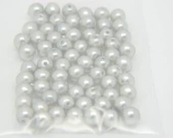 set 4mm gray round Pearl x 65 (l827)