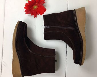 Brown suede zip up ankle boots