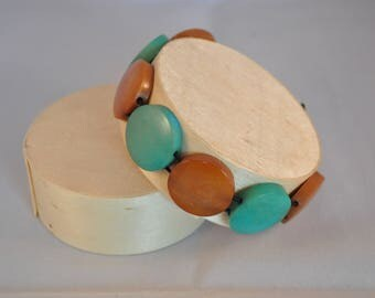 Elastic bracelet turquoise and Brown Tagua (vegetable ivory)
