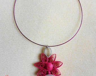 Quilled with dark pink and gray pendant Choker