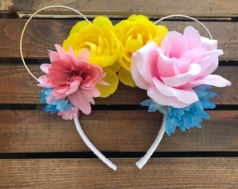 Wire floral Mickey Mouse Ears
