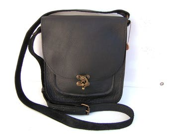(cowhide) leather bag black for her or him.