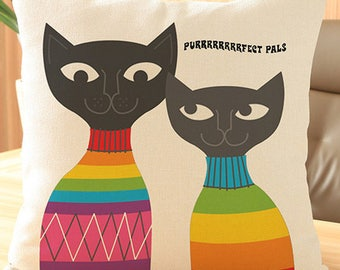 Rainbow cats Purfect pals cute funny square cushion cover