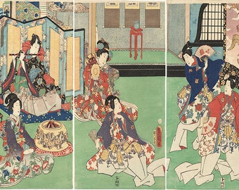 Japanese Art prints in Triptychs