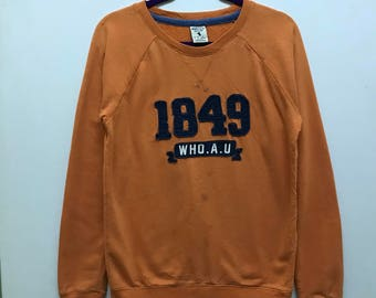 Rare!!! Who.A.U Sweatshirt Pullover Spellout Embroidered 1949