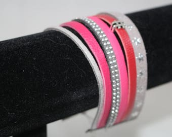 Cuff Bracelet pink and grey for women