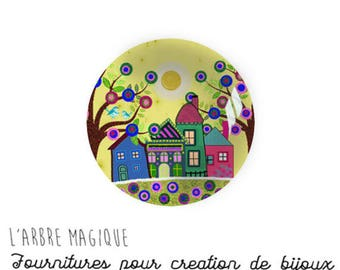 2 cabochons to glue glass 20 mm M1038 House