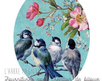 Oval cabochon 18 x 25 mm bird blue and pink 1825c456 swallows