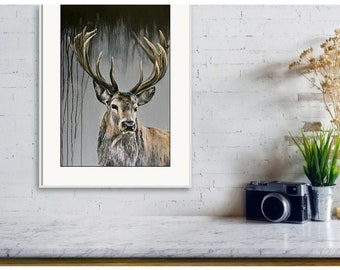 Dark Stag limited edition Giclee print, PaulH art, artist, signed