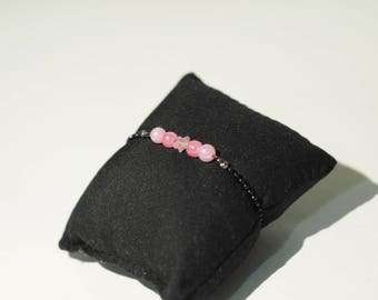 Black metal with pink pearls bracelet