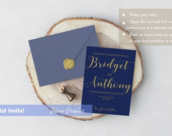 Muted blue and gold wedding invitation, navy wedding invite, fancy, elegant, simple marriage invitation, printable