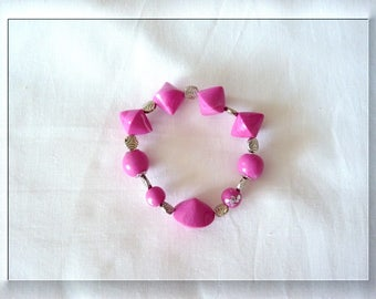 Pink polymer clay and silver leaf bracelet