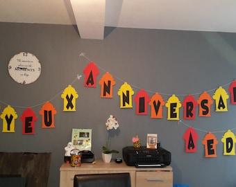 banner happy birthday fireman theme