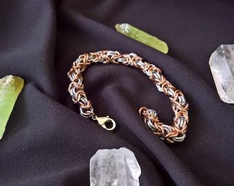 Aluminum and Copper Byzantine Bracelet
