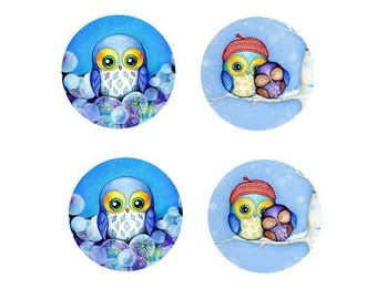 16mm, 2 pairs of owls (blue)