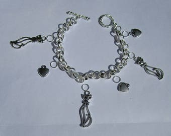1 bracelet with cats and hearts design kit