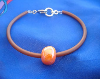 Brown pearl bracelet orange ceramic