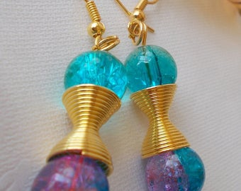 designer jewelry earrings turquoise/green Crackle Glass and turquoise/fuchsia, connector and gold frames