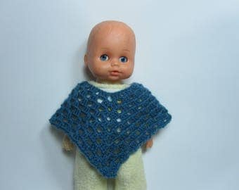 Blue doll poncho crocheted doll 25cm to customize