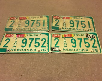 Consecutive Vintage License Plates - set of 2