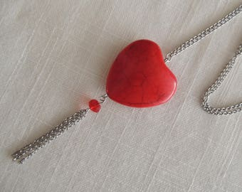 Steel necklace stainless steel large red heart pendant turquoise