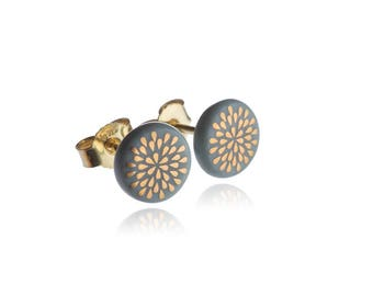 Earrings drop gold on turquoise