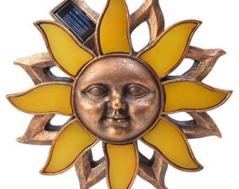 Solar Powered Antique Bronze Outdoor LED Poly Sun Wall Art Light
