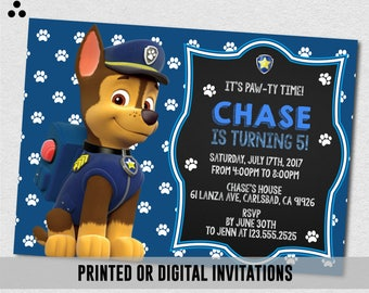 Chase Paw Patrol Invitation, Chase Paw Patrol Invite, Paw-ty Invite, Paw Patrol Birthday, Birthday Invitation, Digital, 3DS-001
