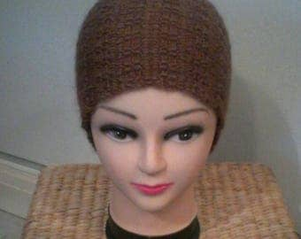 Brown knitted hat in Harris Tweed stitch