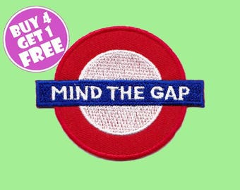 Train Patch London Patches Iron On Patch Embroidered Patch Mind The Gap Caution Sign