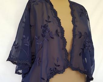 Plus size navy blue bolero shrug size 22-36, Dolman sleeves shrug, Prom cover up, Bridal shrug, Kimono style bolero, Wedding Bolero