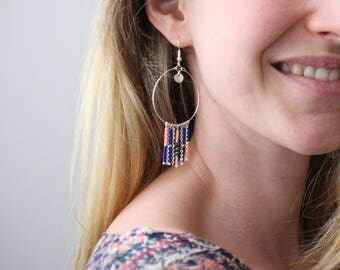 Hoop earrings blue and coral / silver plated