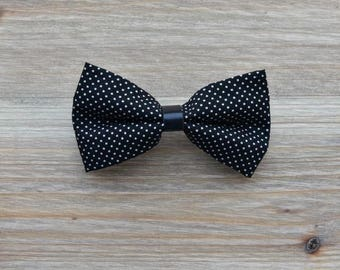 Barrette maxi black bow tie with white dots and black leather