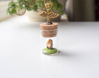 Tiny Guinea Pig Wiht A Golden Heart, polymer clay necklace guinea pig toy clay charm gift kawaii charms pendant jewelry lover gift totem mom