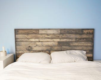 Grey salvaged wood headboard / wall art / table top