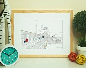 Dorset Artwork Print - Bournemouth Pier Line Art View 3 - by Jo Parry