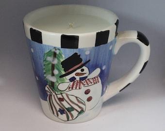 Top Hat Snowman Coffee Mug Candle