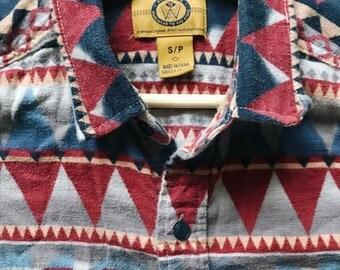 Vintage Aztec Button Down Shirt S