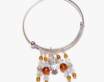 November Topaz Owl Adjustable Charm Bangle Bracelet