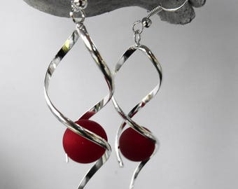 Earrings red polaris bead spiral earrings / wedding / party / birthday