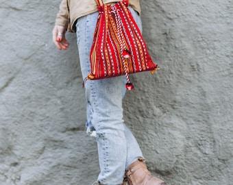 Woven Sling Bag Boho Ethnic Bag Hobo Bag Hippie Bag Cotton Crossbody Shoulder Bag Messenger Boho Bag Diaper Bag Hobo Casual Handbags