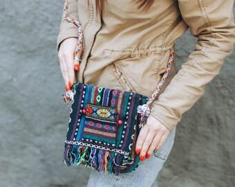 Cotton Boho Bag Style Hobo Hippie Bag Crossbody Woven Sling Bag Cotton Organic Bag Ethnic Bag Gift Boho Day Bag